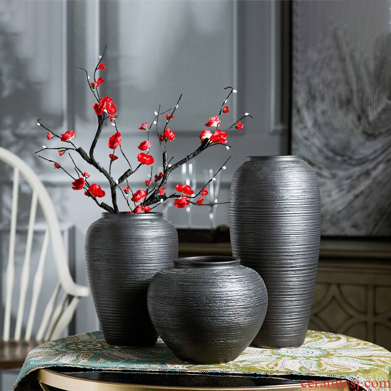 Ceramic vase restoring ancient ways furnishing articles sitting room dry flower arranging flowers, black pottery household porcelain Nordic TV ark, adornment
