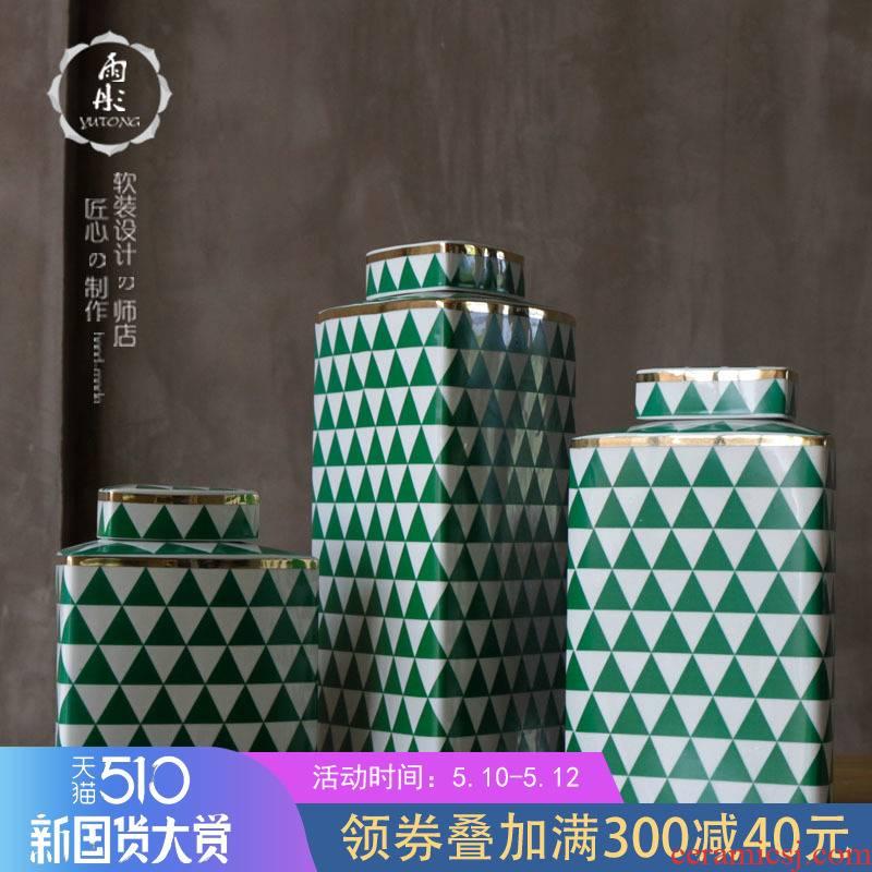 Rain tong home | jingdezhen ceramics creative the see colour blue and white triangle/ceramic pot home sitting room porch place