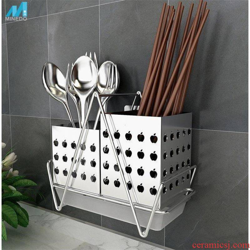 The Wall hanging type 304 stainless steel chopsticks from household kitchen chopsticks chopsticks cage barrel'm drop tableware is received