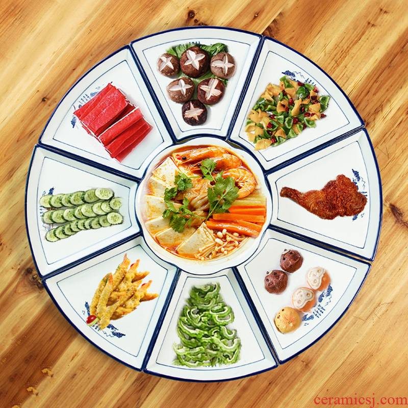 Seafood platter tableware creative household reunions fan round big 0 round the ceramic plate combination suit