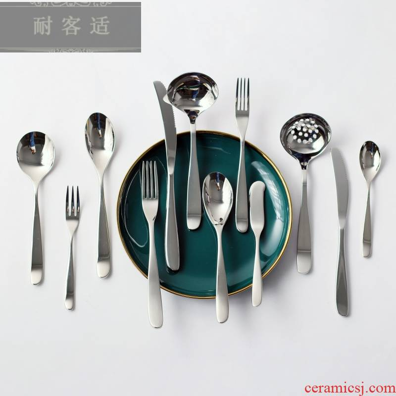 Guest comfortable contracted crescent series western food knife and fork spoon ecru 304 stainless steel western tableware household hotels to send