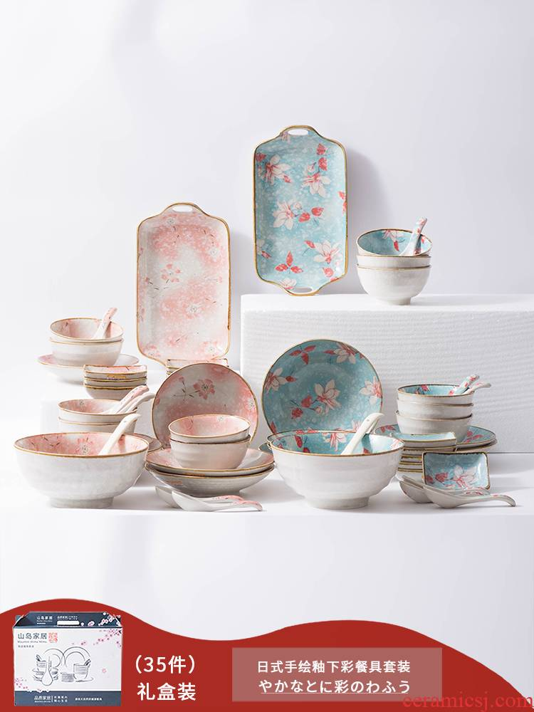 Japanese youth 35 head of household ceramic dishes and cutlery set rice bowls large soup bowl dishes dishes gift boxes