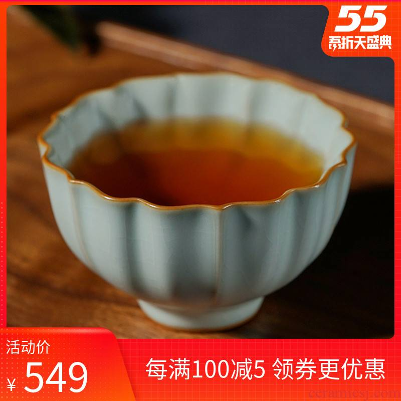 Ru up market metrix who cup single cup tea imitation song dynasty style typeface, jingdezhen ceramic kung fu tea sample tea cup open piece of ice to crack glaze for