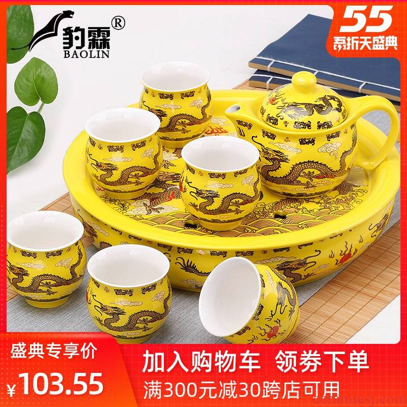 Heat insulation kung fu tea set household ceramic tea cup teapot tea tray was contracted and I Chinese blue and white porcelain tea set