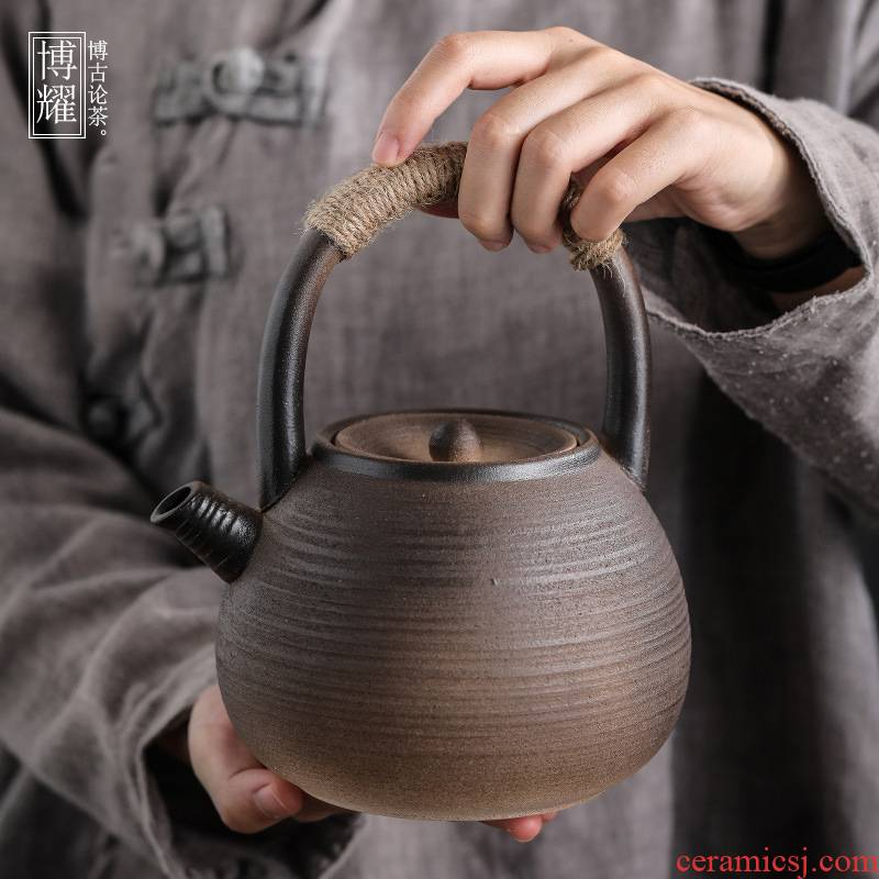Bo yiu-chee gold retro coarse pottery teapot Japanese home filtration to hold to high temperature ceramic boiled tea restoring ancient ways 1 l capacity