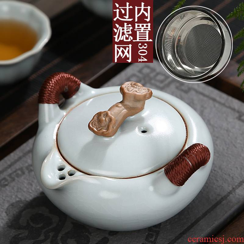 Your up teapot with a built - in filter open ruyi hand grasp pot of kung fu tea set ceramic single pot a pot of small size two cups