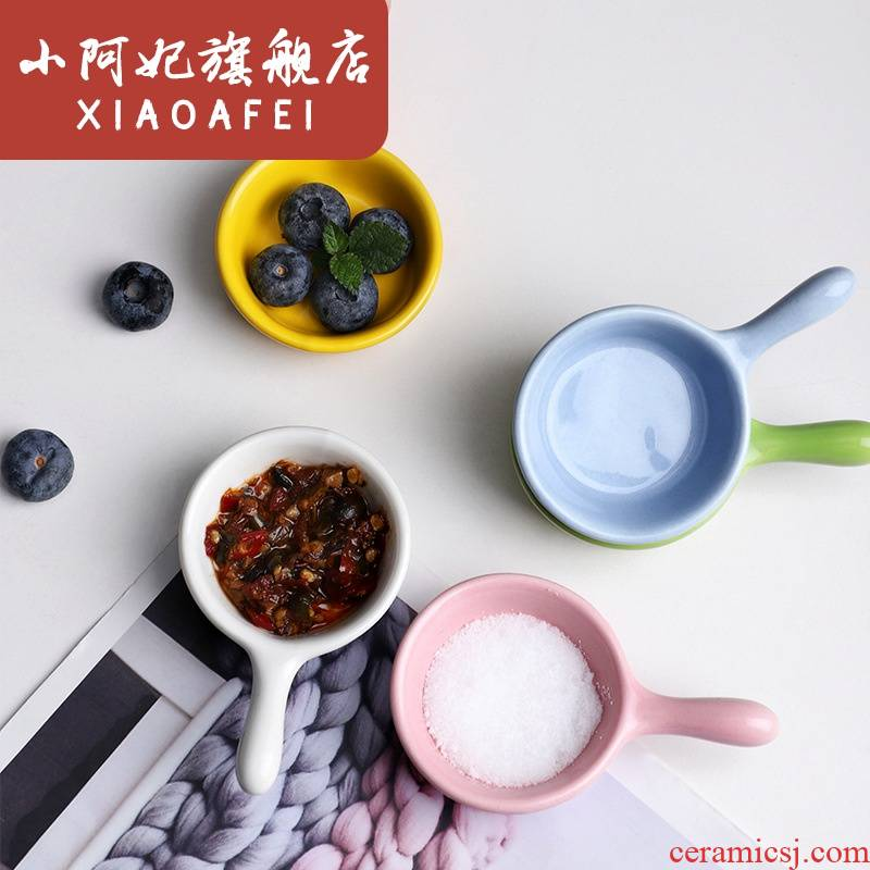Japanese ceramic disc mini small dip disc kitchen at home round individuality creative lovely taste flavor dishes