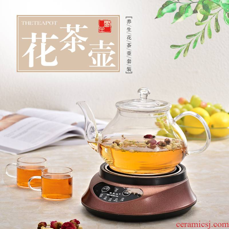 Glass teapot with insulation base electric heating kettle transparent home health pot of tea boiled suit the teapot