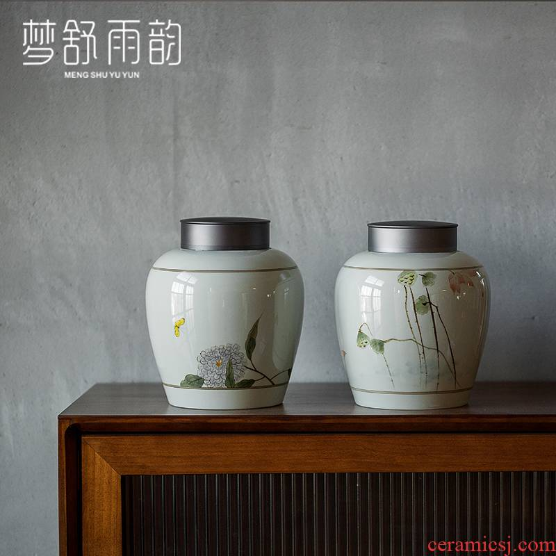 Dream ShuYu rhyme large antique hand - made ceramic sealed ceramic pot of pu 'er caddy fixings wake receives Chinese wind furnishing articles