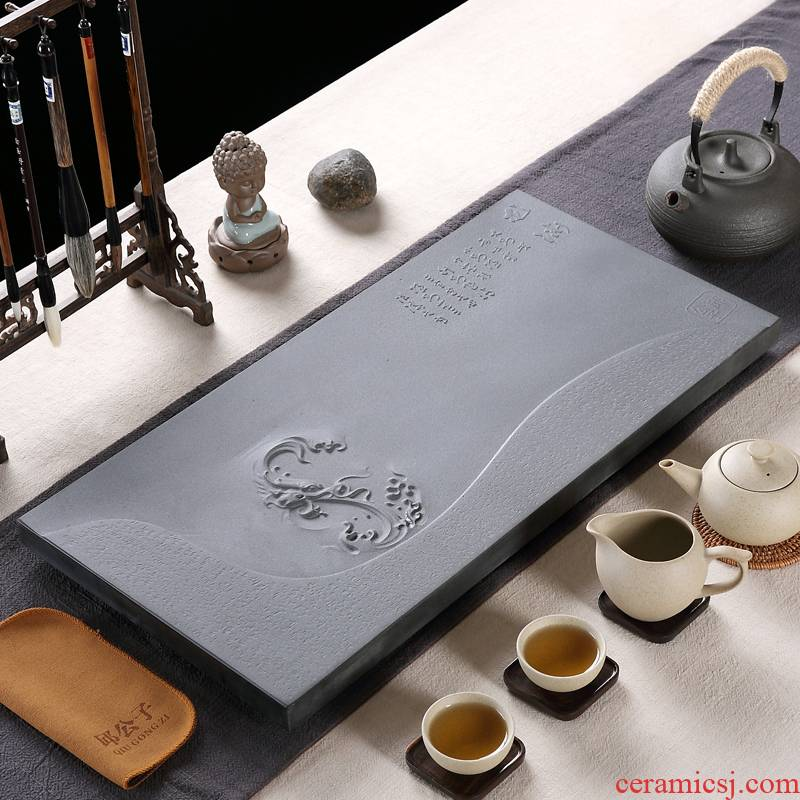 The high time household utensils, black gold sharply kung fu tea tray package The whole stone stone stone large sea tea table