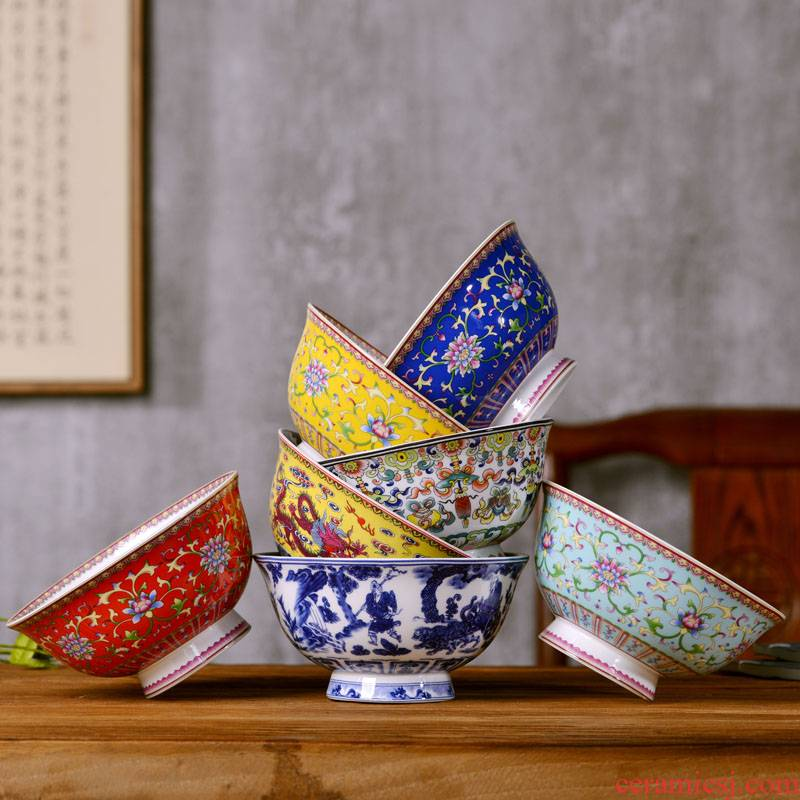 Jingdezhen ceramics 6 inches rainbow such use Chinese style household ipads porcelain rice bowl archaize tall bowl longevity bowl of custom
