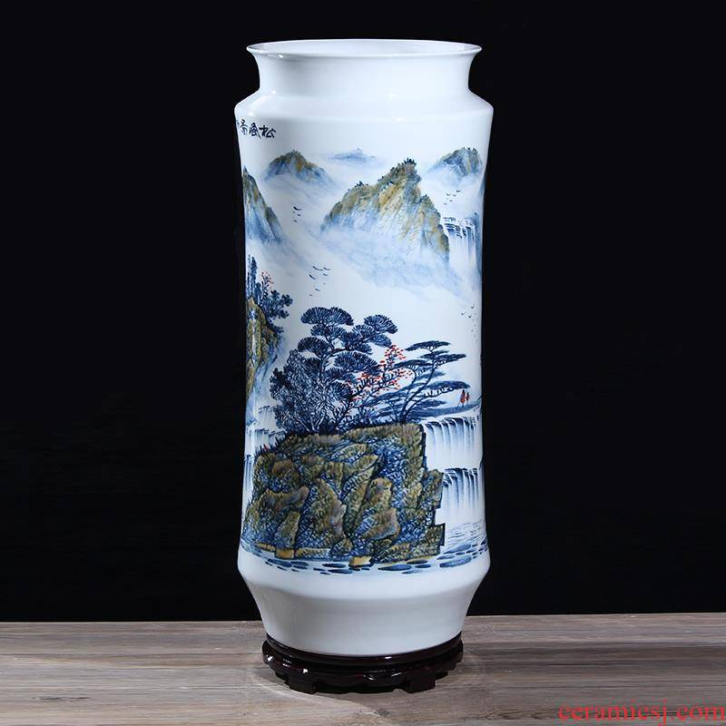 TB jingdezhen blue and white porcelain works hand - made ceramics masters wind figure quiver brush pot of large vase