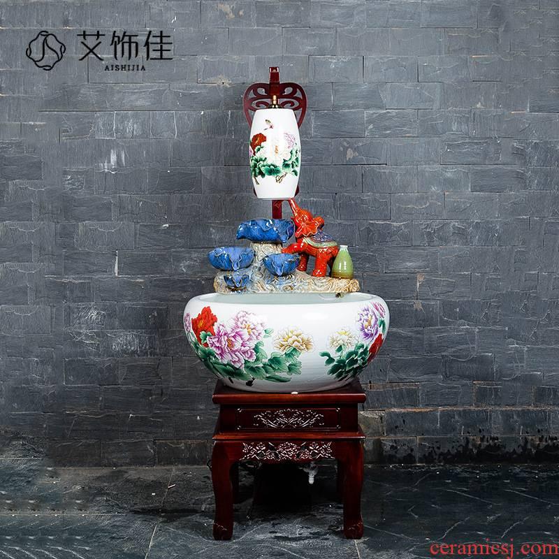 Jingdezhen ceramic aquarium with lamp ornamental fish bowl sitting room circulating water filter rockery fountain water crafts
