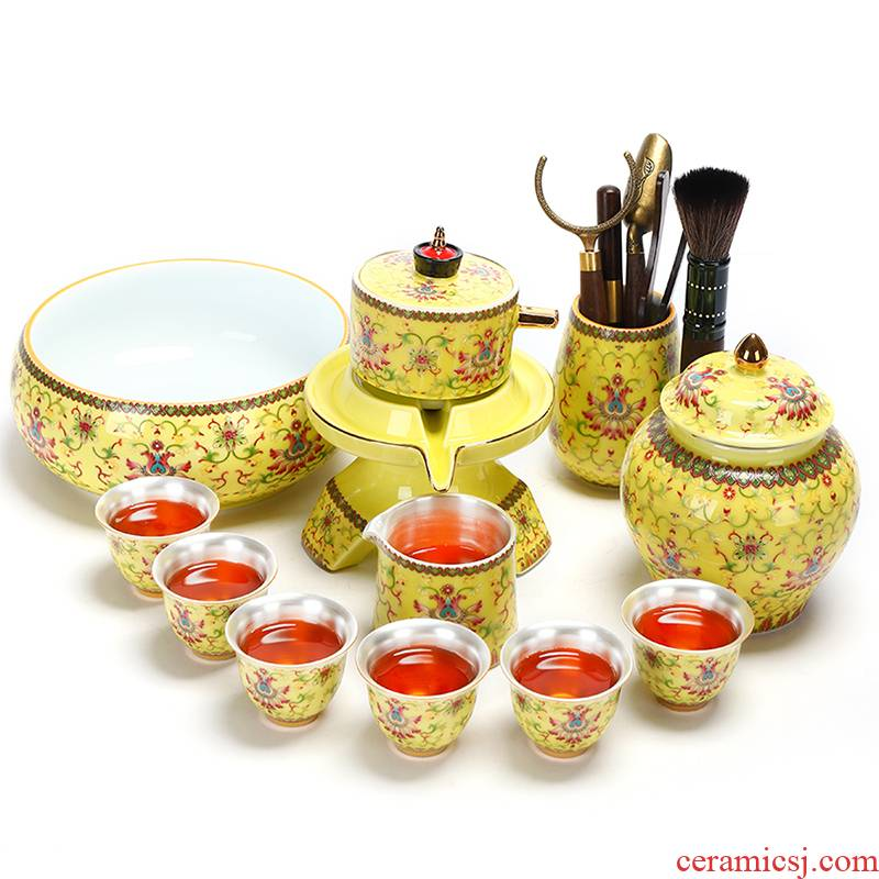 Recreational product tasted silver gilding automatic tea sets jingdezhen ceramic kung fu tea set 999 silver cup home the whole pot