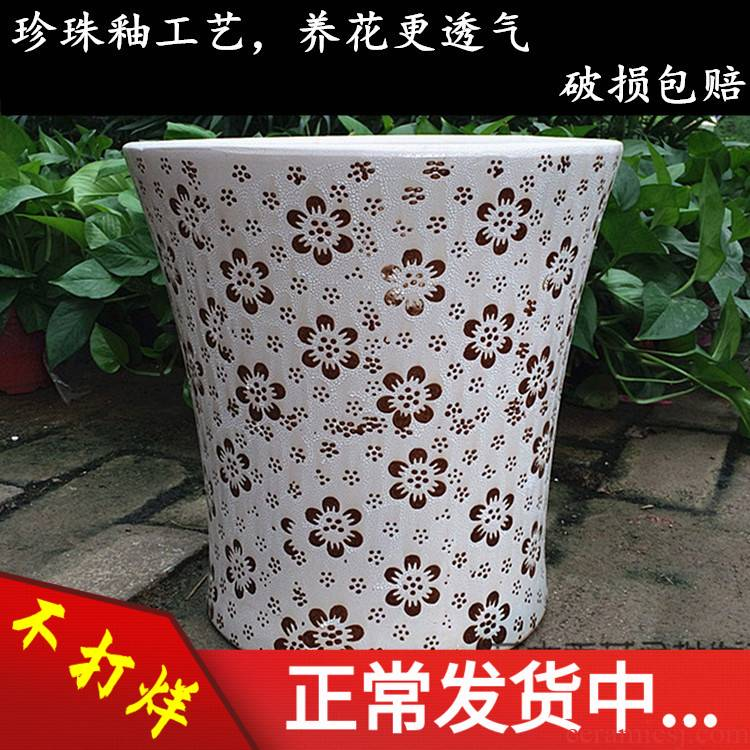 Pearl glaze flower pot ceramic queen clearance king high contracted Europe type home sitting room special packages mailed to plant trees