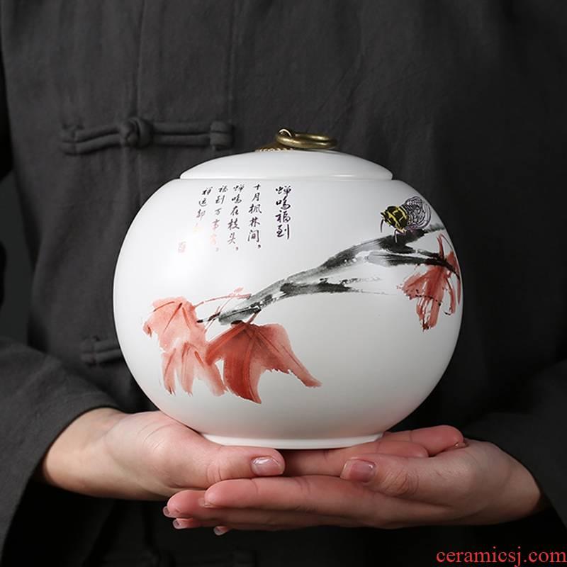 Caddy fixings ceramic big in number of household seal pot longjing green tea pu - erh tea store content box ceramics POTS