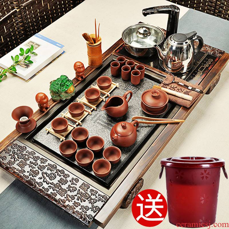 Hui, make tea set suits for your up kung fu tea sets of household ceramics induction cooker of a complete set of solid wood tea tray