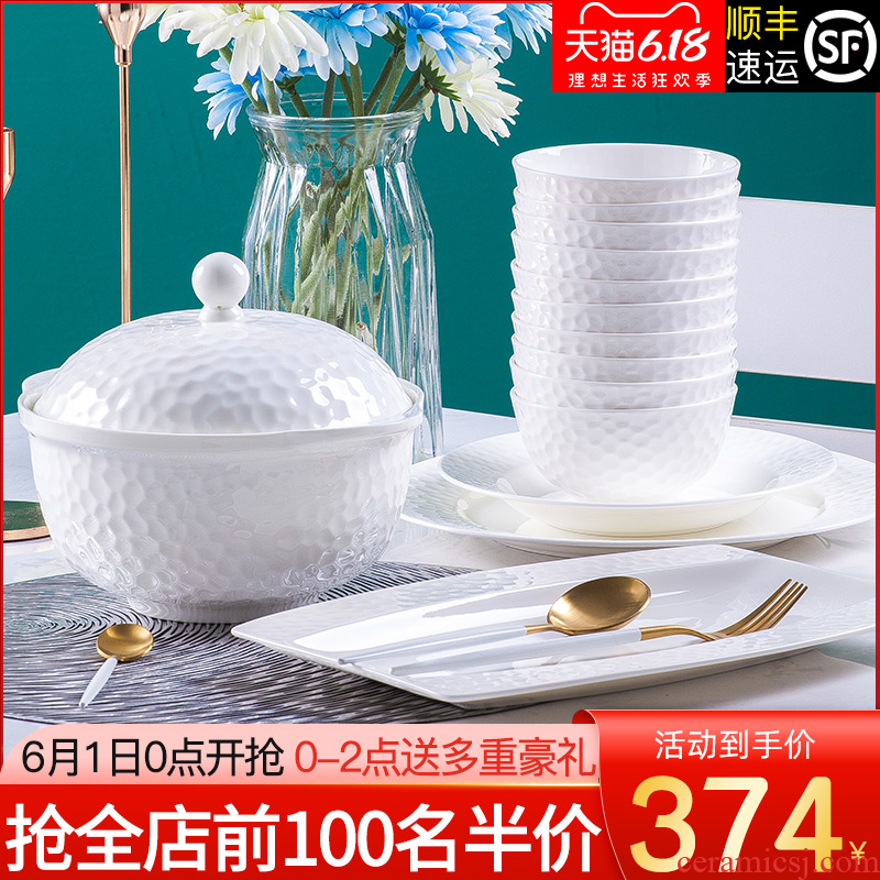 The Under glaze color porcelain dishes suit contracted household jingdezhen ceramic tableware suit dishes combine European dishes