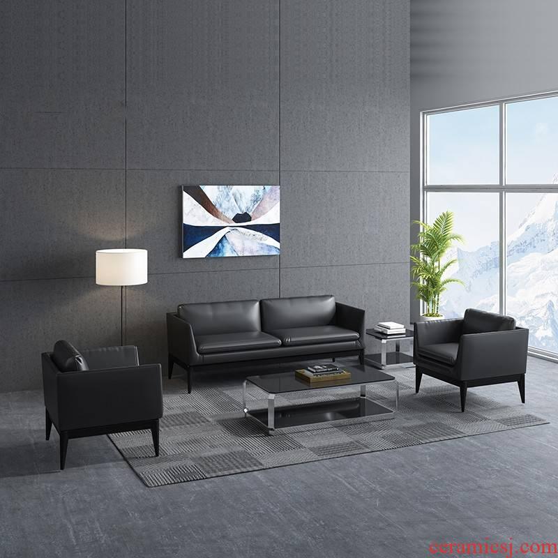 Office sofa tea table combination of small business visitor simple Office sofa, leisure sofa leather art sofa
