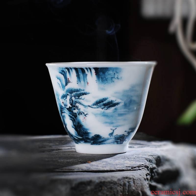 The Owl up jingdezhen tea set under the glaze color hand - made landscape master cup sample tea cup kunfu tea cup