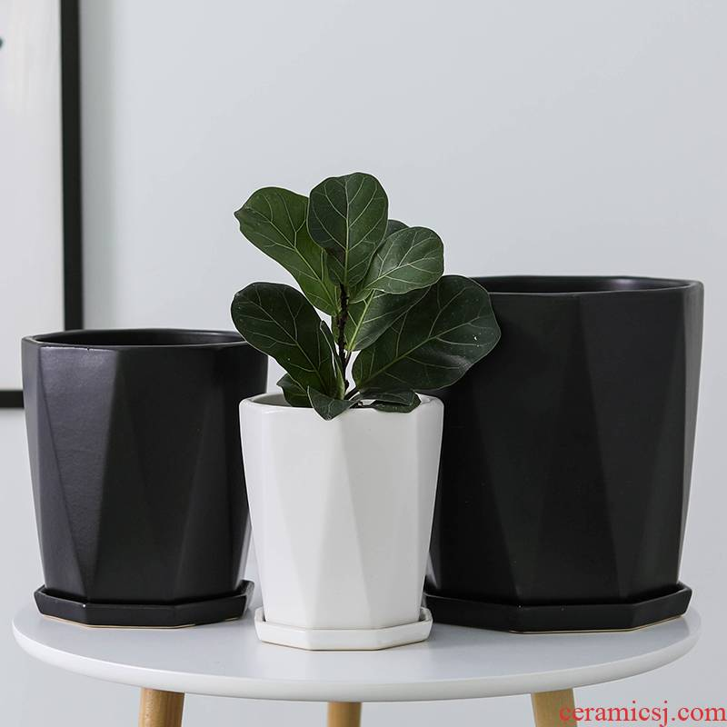 Contracted ceramic flower POTS with tray package post modern household desktop ground matte enrolled anise big pot wholesale to plant trees