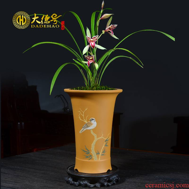 Greatness, ceramic purple sand flowerpot breathable clivia orchids bluegrass butterfly orchid green plant bonsai pot special pot