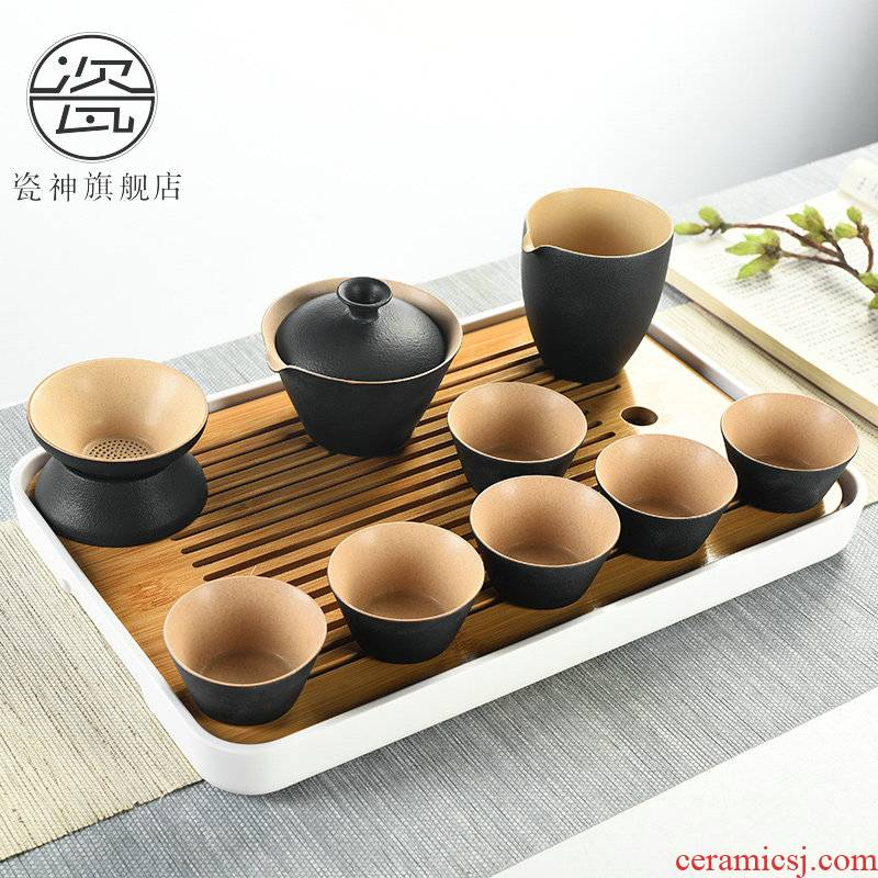 Kung fu tea set porcelain god visitor household of Chinese style tea small tea table is contracted tea cups dry tea tray