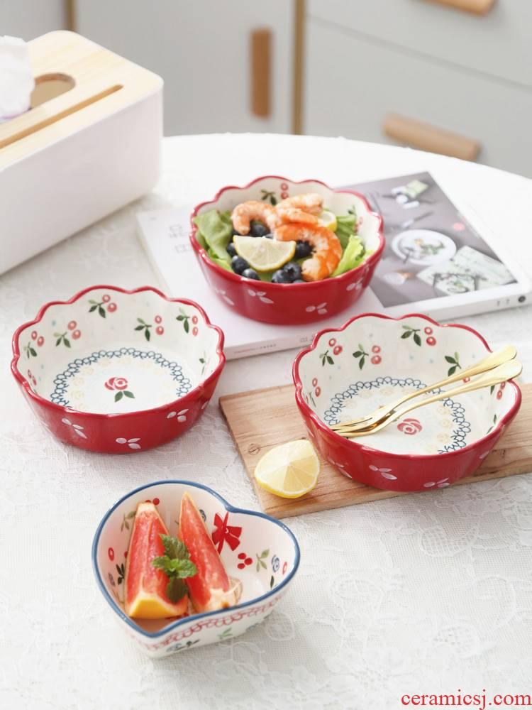 Bo view breakfast ceramic bowl cherry small bowl, lovely salad bowl eat fruit bowl creative household dessert bowl of bird 's nest