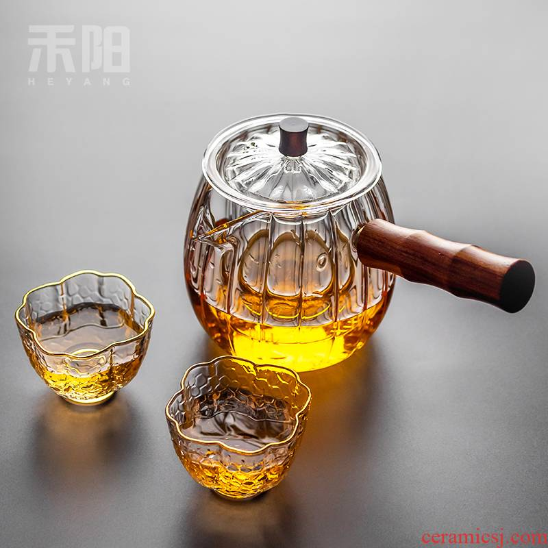 "Send Yang glass teapot side ""bringing boiled tea ware heat - resisting teapot kung fu tea set filter with thick hot pot"