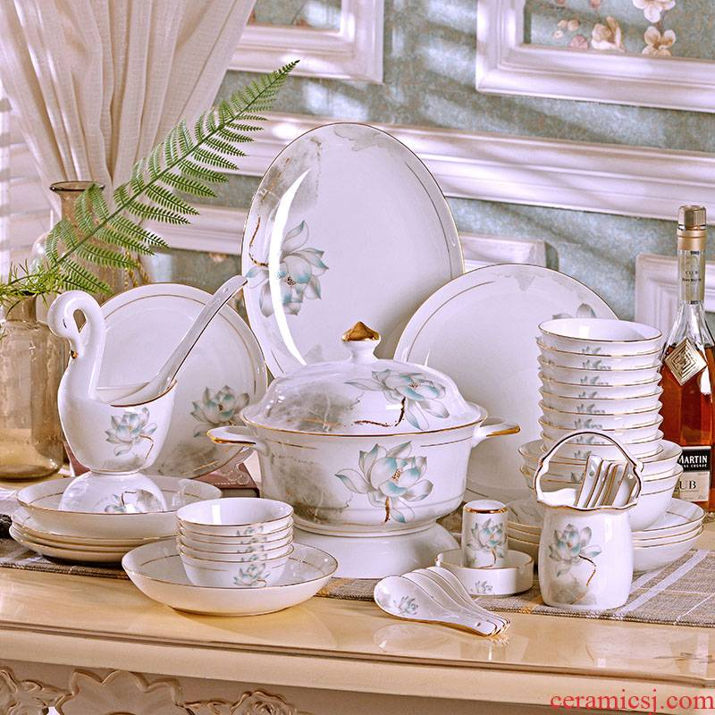 60 skulls of jingdezhen porcelain tableware suit Chinese style household rice bowls deep dish dish dish dish combination suit