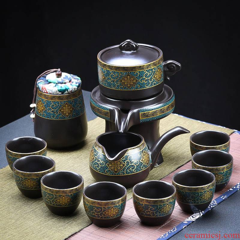 Purple ice crack of a complete set of kung fu tea set of household ceramic teapot teacup tea tea tray was high - end gift box set gifts