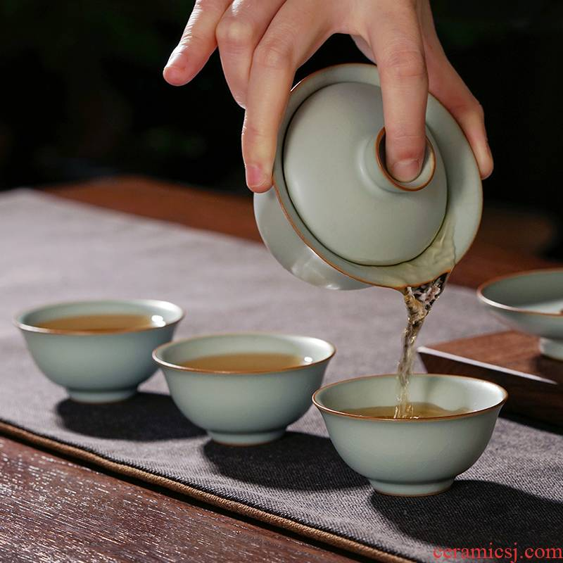 Your up tureen tea set suit household jingdezhen tea bowl manually open Chinese celadon ceramic gifts for