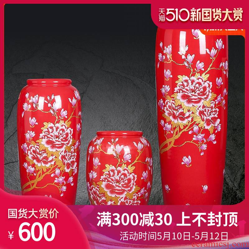 Jingdezhen ceramic floor large vase furnishing articles red peony POTS home sitting room decoration to the hotel opening