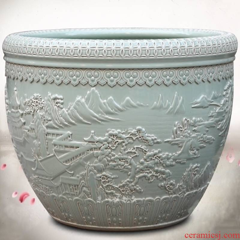 Jingdezhen porcelain carving landscape painting goldfish turtle cylinder water lily sitting room courtyard study office furnishing articles