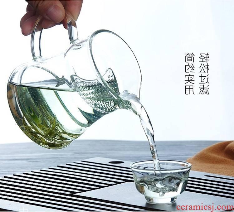 Increasing heat half crescent cup filter glass cup tea cup tea transparent home office green tea cups