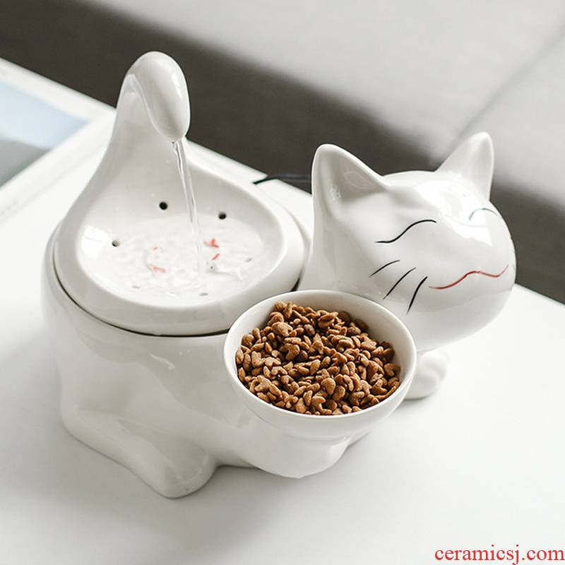 Pet cats ceramic water machine automatic circulation constant temperature heating water flow fountain water feeder