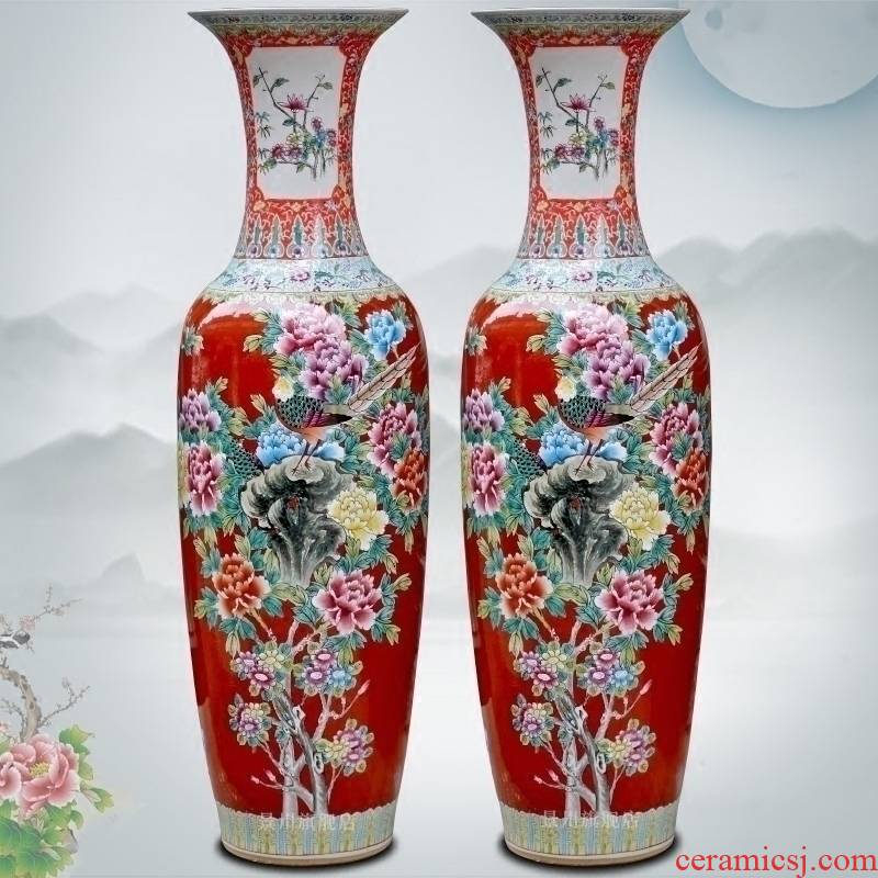 Chinese red hand - made of golden pheasant vase peony flower arranging landing big jingdezhen ceramic guest modern Chinese style household furnishing articles