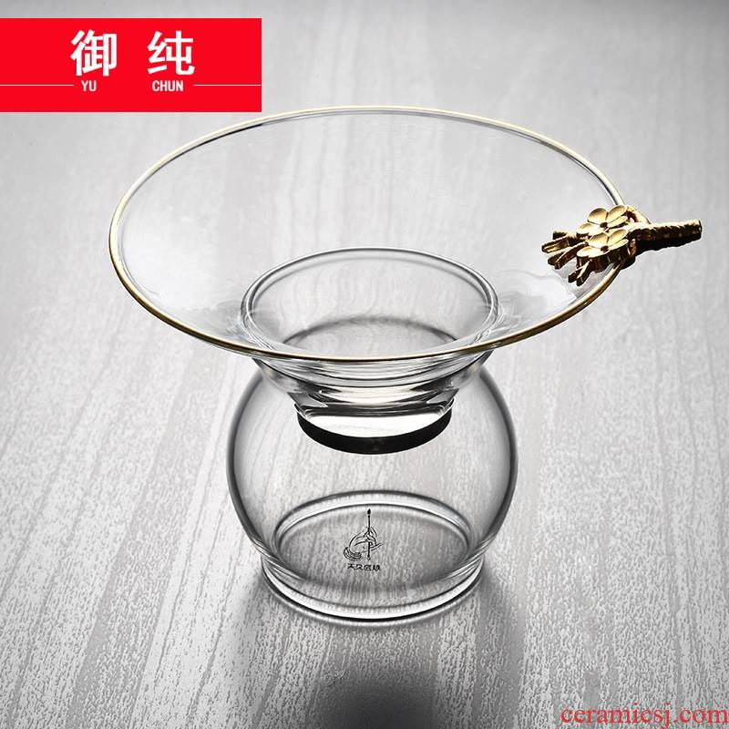 Royal pure) transparent heat - resistant glass tea strainer kung fu tea set filter gold name plum tea filter