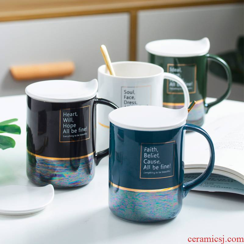 Creative Nordic ins water glass ceramic keller with spoon move trend picking coffee cup men 's and women' s household