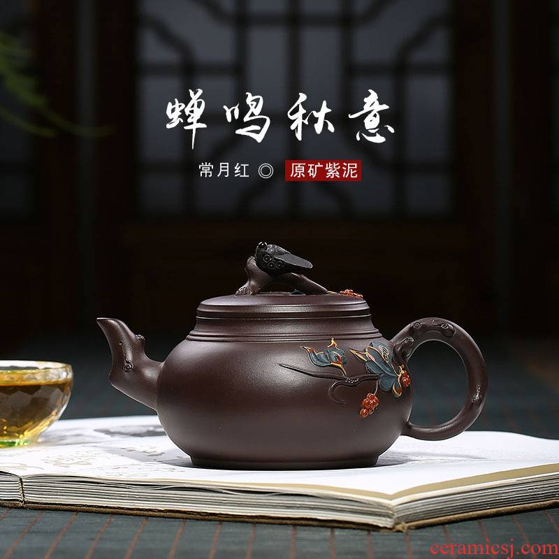 Red cicadas, the month of autumn are it authenticity of ink undressed ore checking purple clay teapot tea travel kit