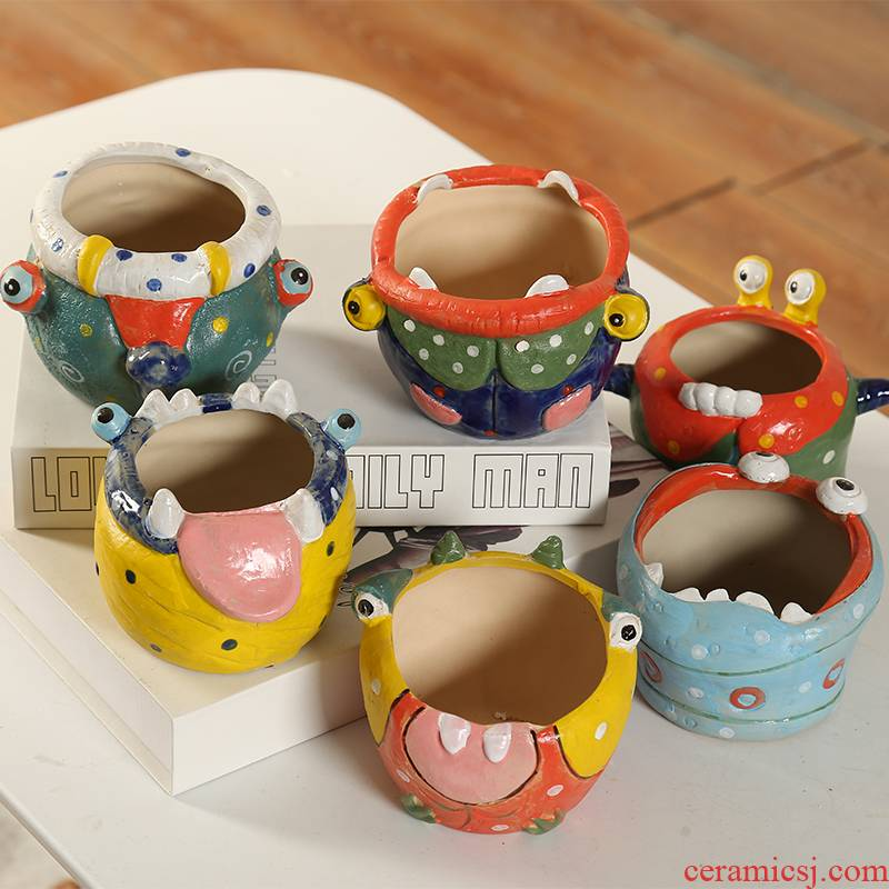 The An idea wacky special offer a clearance of coloured drawing or pattern of much meat flowerpot ceramic move breathable Korean little monsters basin coarse pottery