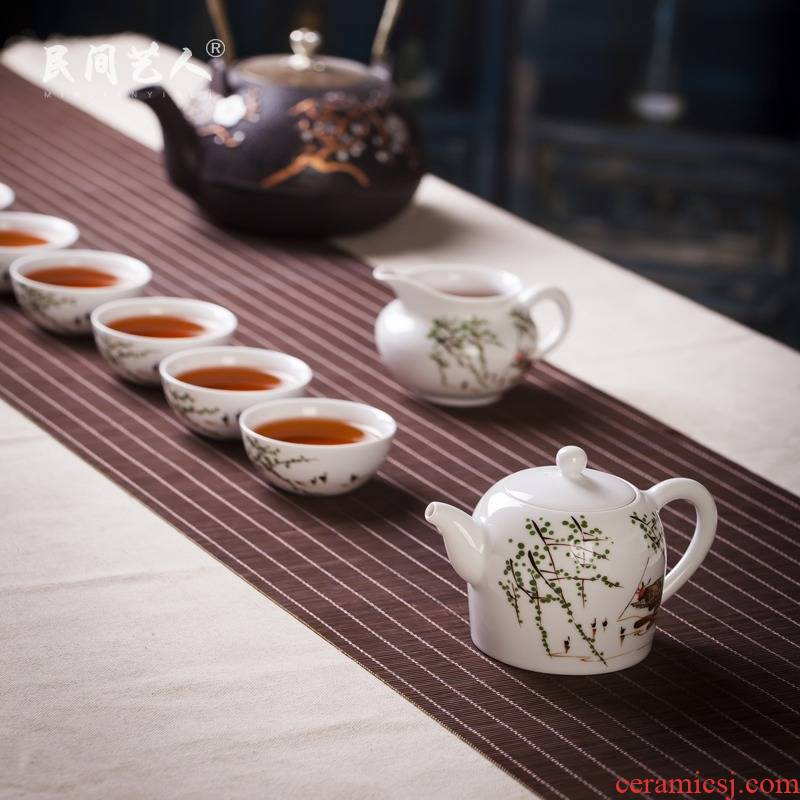 Jingdezhen ceramic hand - made famille rose tea set of group of eight head of kung fu tea set gift tea set with gift box