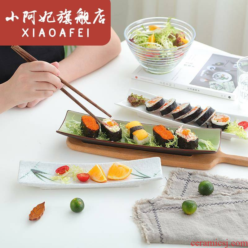 Ceramic rectangular plate sushi plate small never dish creative pure white wings dessert plate Japanese - style tableware plate