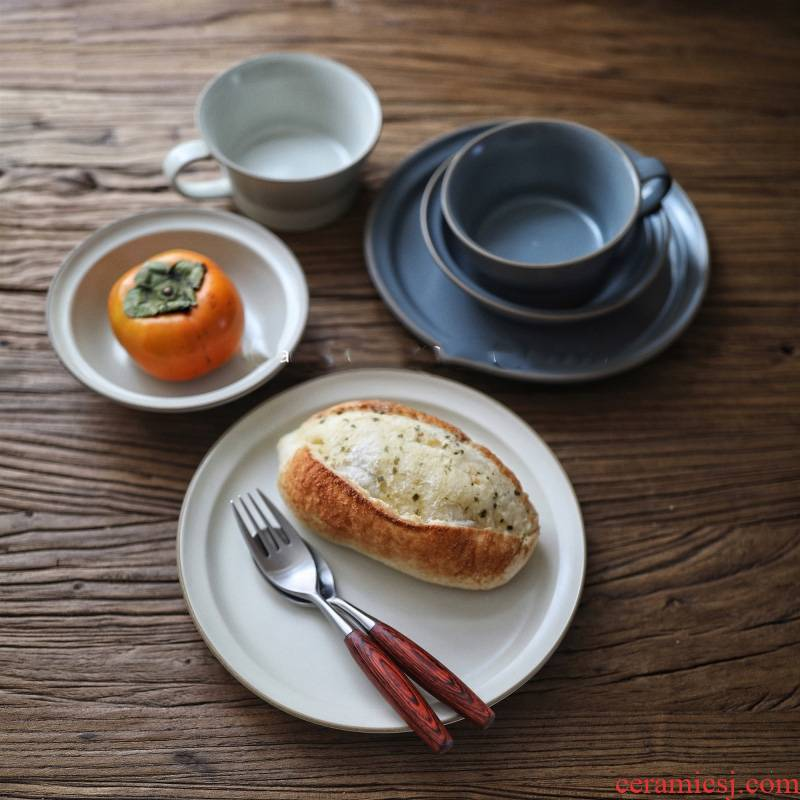 Tong baiyi tableware retro frosted matte enrolled Japanese dishes handle cup of salad bowl posed ceramic dish for breakfast