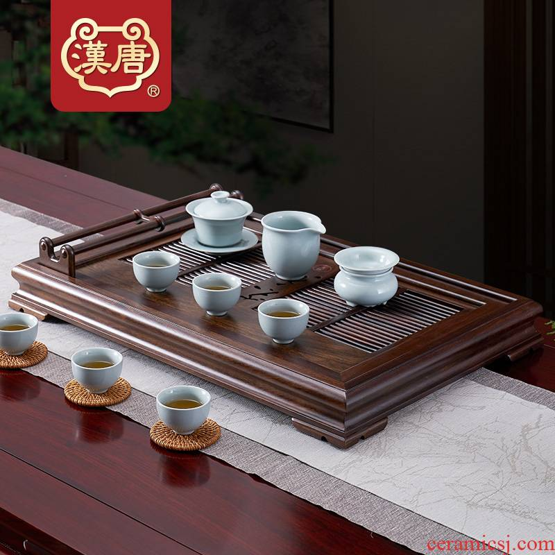 Tang suit household contracted solid wood, wood tea tray tea sets tea set drainage waterlogging under caused by excessive rainfall type tray was dry sea mercifully tea set