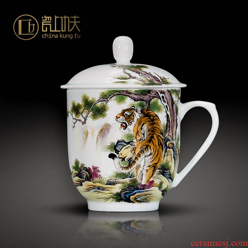 Jingdezhen hand - made colored enamel handle cup roars of nights ceramic cup office cup cup custom boss