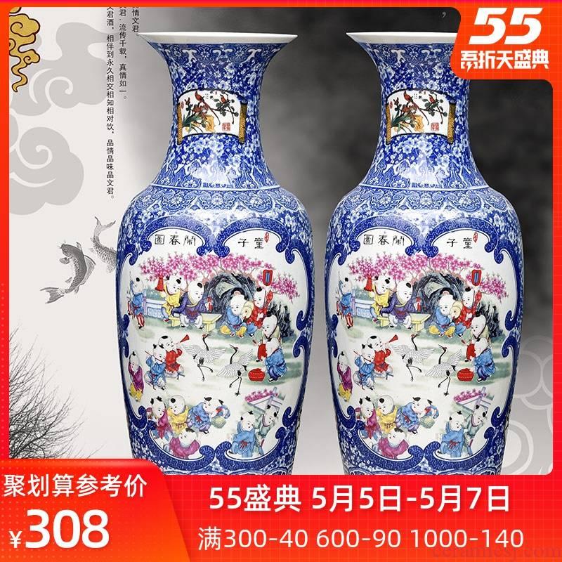 Jingdezhen ceramics landing large blue and white porcelain vase furnishing articles the lad noise figure sitting room spring flower arrangement home feng shui