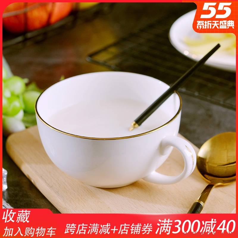 Creative European - style up phnom penh ipads China children bowl with the handle Creative lovely ceramic milk for breakfast cereal bowl dish