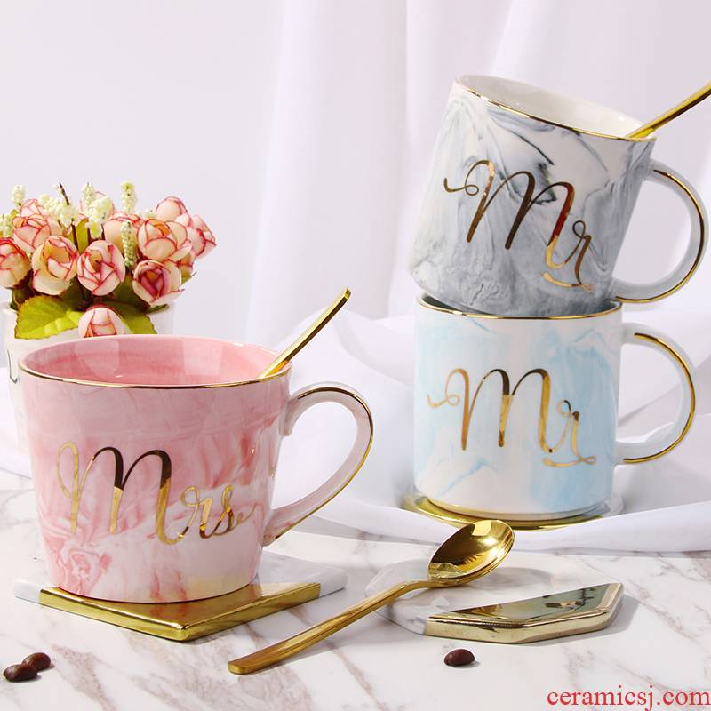 European marble ceramic keller cup couples home coffee cups with cover teaspoons of drinking a cup of office men and women
