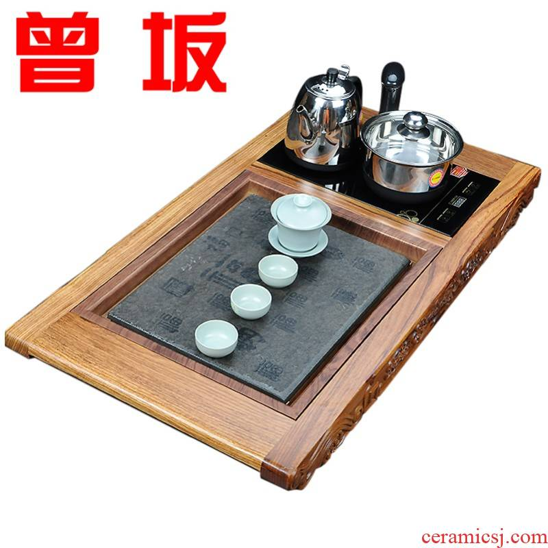 Once sitting hua limu tea tray was large area electrical solid wood tea mixture big tea tray was sharply stone big yards of tea